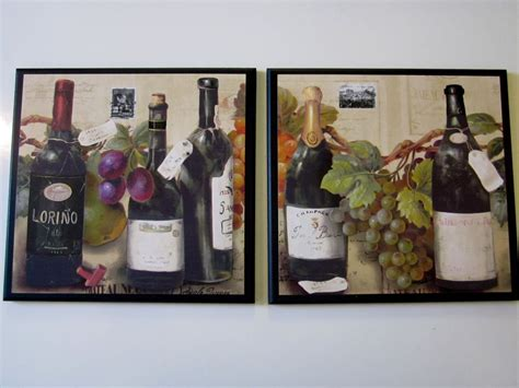 wine bottles grapes kitchen wall decor 2 plaques italian