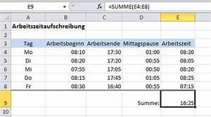 Excel Tabelle Summe Berechnen : excel arbeitszeit berechnen alles ber windows ~ Themetempest.com Abrechnung