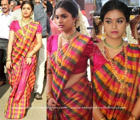 actress keerthi suresh in saree keerthi suresh in checkered silk saree silk sarees