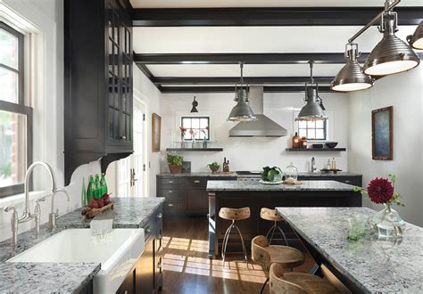industrial style rustic modern farmhouse kitchen in black