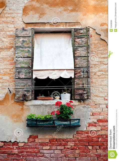 rustic window  shutters   venice house stock