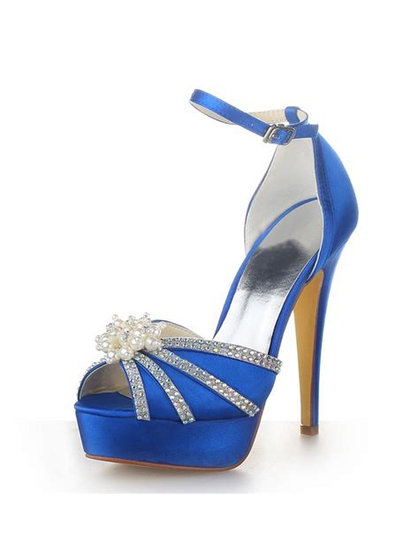 womens satin stiletto heel platform peep toe  pearl