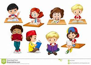 Bambini che leggono e che scrivono illustrazione di stock for Konzentrationsschw che kind