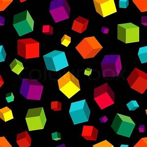 Seamless black pattern with colourful cubes   Stock Photo ...