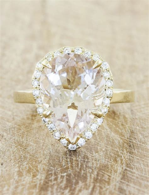 linley pear shaped morganite engagement ring ken dana
