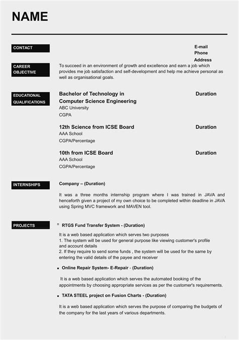 Sample Resume In Word Format India - Sample Resume Template