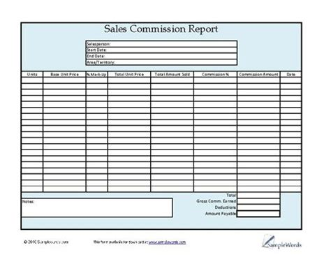 sales commission report   print  template