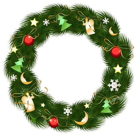 christmas wreath  ornaments clipart png image