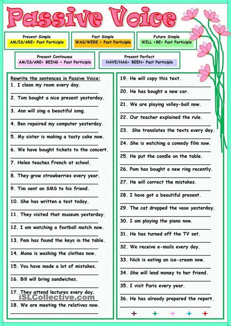 Passive Voice …  English Worksheets  Pinterest  English, English Grammar And Worksheets