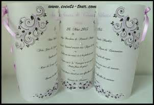 faire part mariage violet menu photophore flowers x1