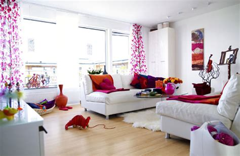 Picture Of White Living Room With Pink And Orange Accents 5 Light Bathroom Fixtures Fan Combo Sconces For Track Lighting Vanity Dim Lights Bedroom Wood Sets Canada Flush Mount
