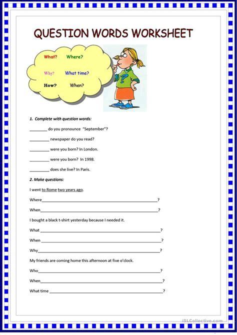 question words worksheet worksheet free esl printable worksheets made by teachers
