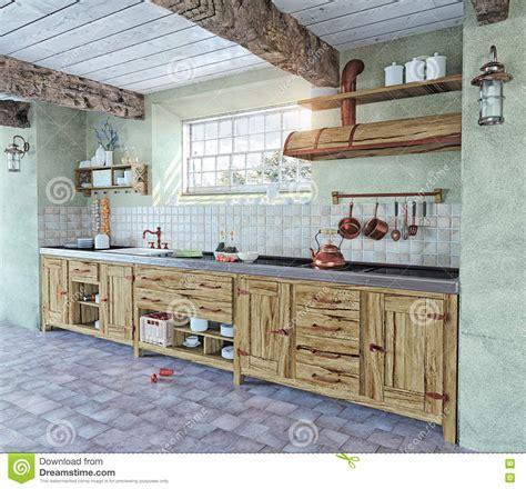 cuisines design industries intérieur à l 39 ancienne de cuisine illustration stock
