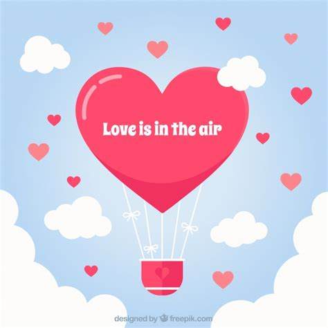 Hot air balloon background with heart shape Vector Free