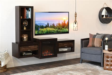 floating wall mount tv stand  fireplace  bookcase