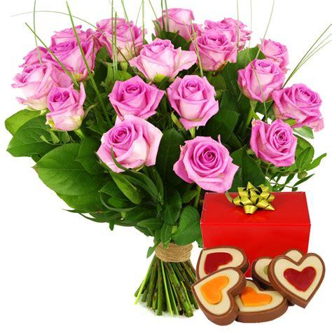 Roze rozen met hartjes chocolade bezorgen Bezorgen