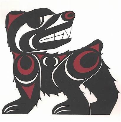 Bear Salish Native Coast American Drawing Haida