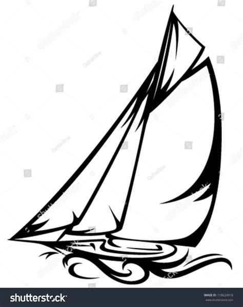 Sailboat Outline Vector Free by Sailing Yacht Vector Illustration Black White Stock Vector