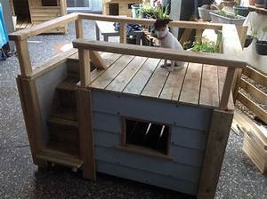 one of our dogs trying out the new two story kennel with With under deck dog kennel
