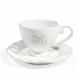 Tasse à Café Maison Du Monde : tasse et soucoupe th en fa ence blanche bourgeoisie maisons du monde ~ Teatrodelosmanantiales.com Idées de Décoration