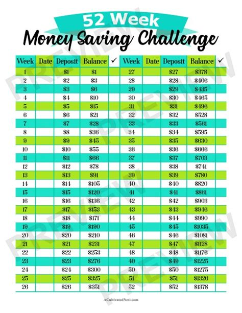 week money saving challenge printable