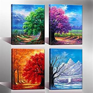 nuolanart 4 seasons modern landscape 4 panels framed With best brand of paint for kitchen cabinets with amazon wall art canvas