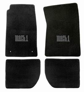 NEW 1965-1973 Ford Mustang Mach 1 Black Floor mats with Logo Set of 4 Carpet | eBay