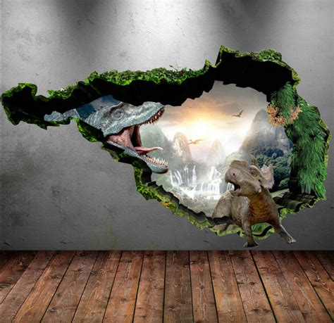 chambre graffiti dinosaur wall decal wall stickers colour 3d dinosaur