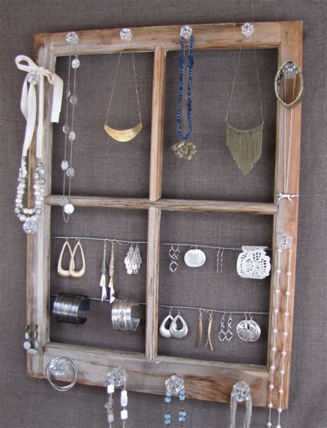 repurposed window pane jewelry display jewelry armoire