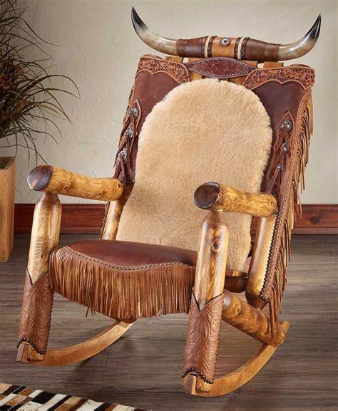 western heirloom longhorn rocking chair wild wings