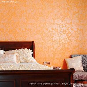 French Floral Damask Wall Pattern Stencil Romantic