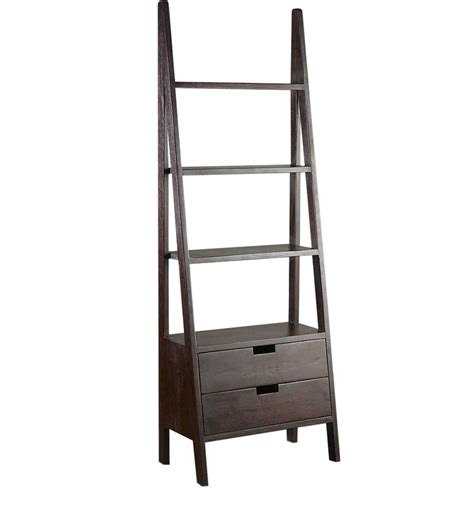 ladder bookcase with drawers ladder like book shelf with two drawers by wood dekor by
