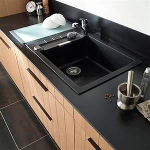Evier granit a encastrer noir alios castorama evier for Plan de travail cuisine avec evier integre