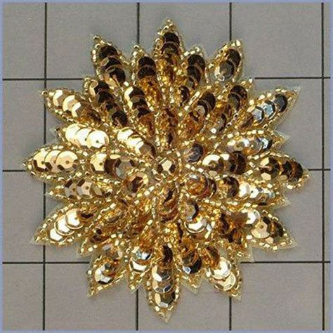 Gold Applique by Gold Sequin Beaded Flower Applique 2409 A Ebay
