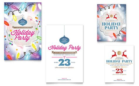 holiday party note card template word publisher