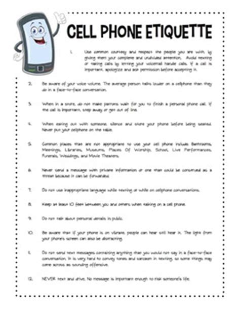 cell phone etiquette worksheet packet by side up resources