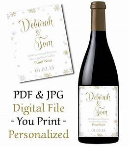 wedding wine bottle label printable snowflake With how to print wine bottle labels