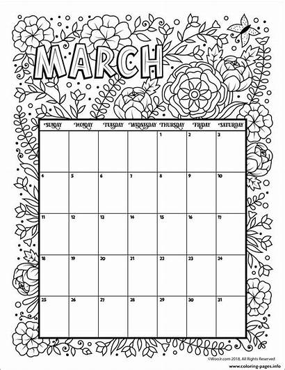 Calendar Coloring March Printable Pages Flowers 2021