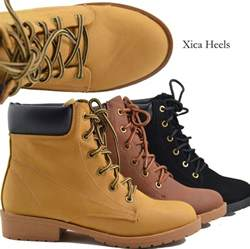 womens work boots 39 s ankle boots lace up faux combat work boot style faux leather ebay