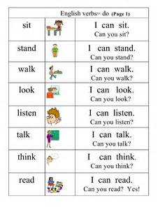 basic verbs 1 pictures words simple
