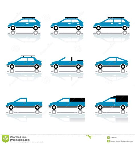 Different Car Body Style Icons Stock Photos