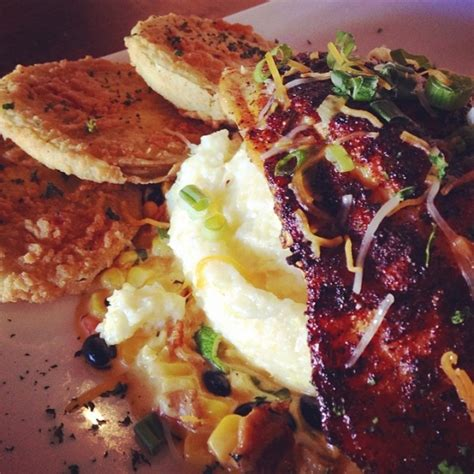 gouda smoked resting blackened grits bacon grouper bean corn sauce side tomatoes yum lunchtime fried