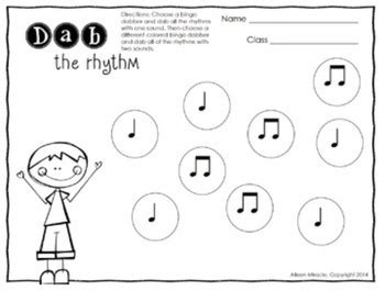 music dabbing worksheets 1st grade by aileen miracle tpt