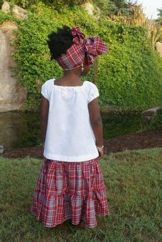 Jamaican Traditional Bandana Skirt Suit Girls Madras Skirt Set Flutter Sleeve Blouse Girls ...