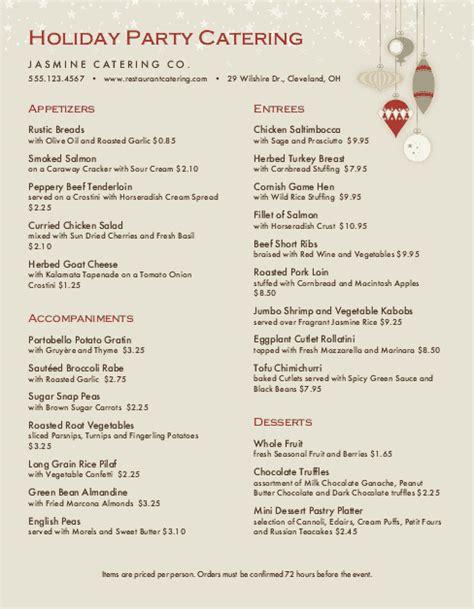 christmas party catering menu christmas menus