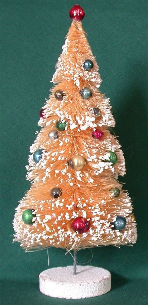 vintage  white bottle brush christmas tree