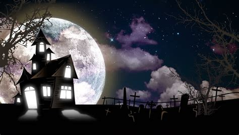Spooky Halloween Haunted House Animation With Full Moon