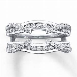kay diamond enhancer ring 3 4 ct tw round cut 14k white gold With wedding ring enhancers princess cut