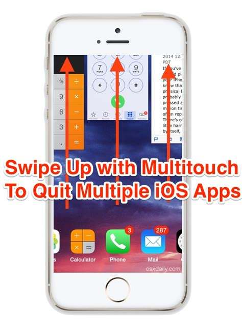 swipe up on iphone how to quit iphone apps simultaneously in ios