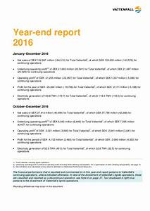 vattenfall39s year end report 2016 With end of year financial report template
